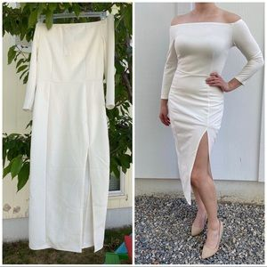 NWT Boohoo White Off Shoulder Bodycon Midi Dress